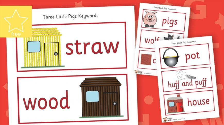 the three little pigs story labels