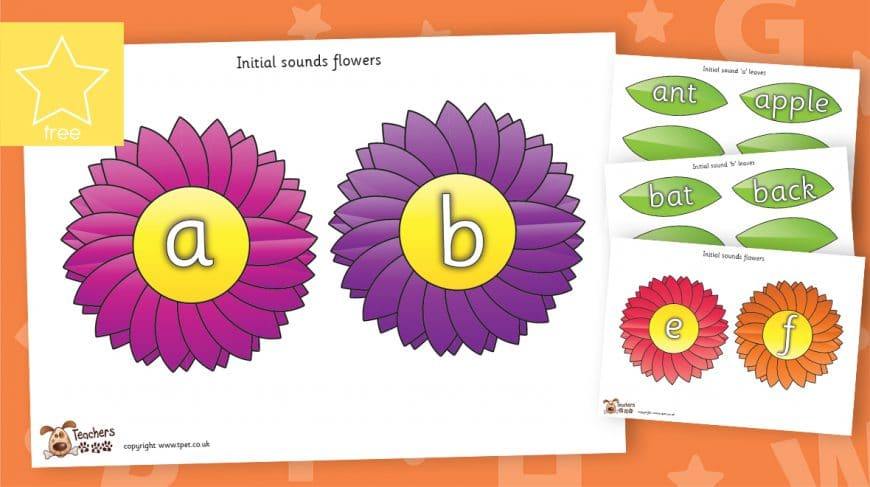 initial sound phonics letters and sounds flowers