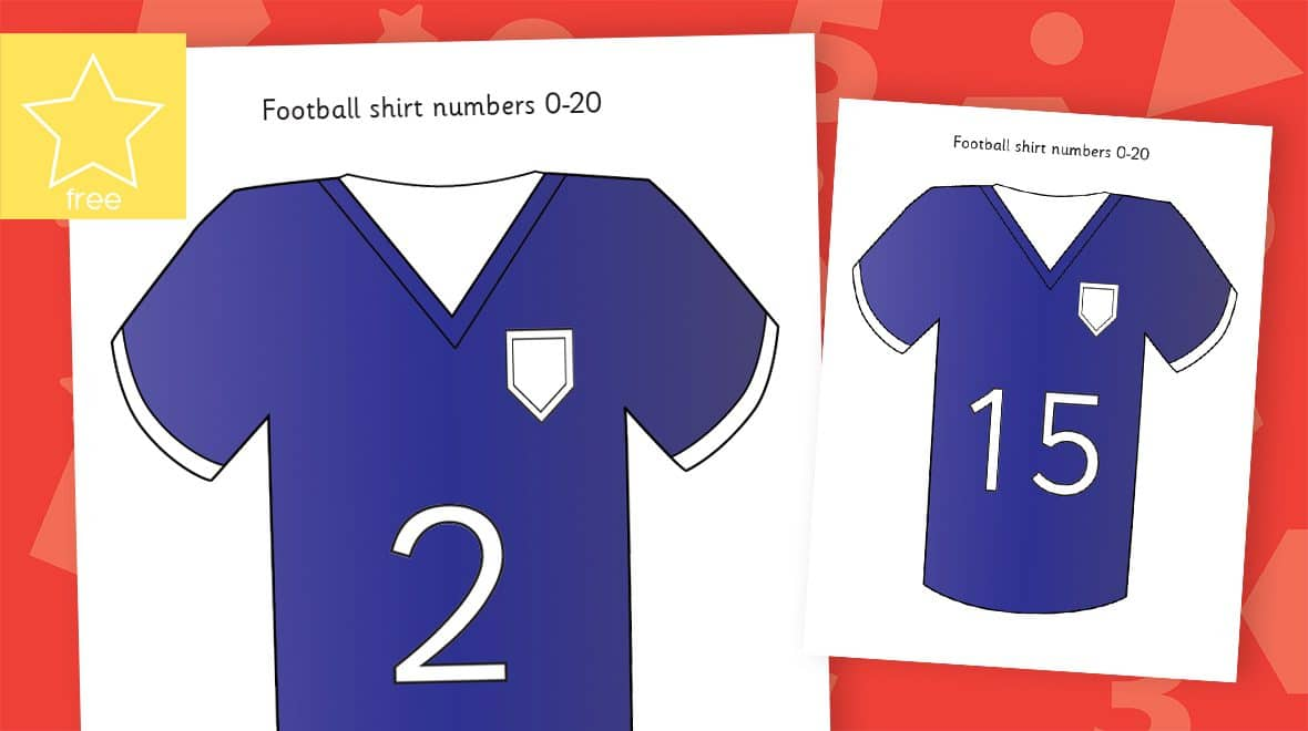 football shirts numbers counting to 20