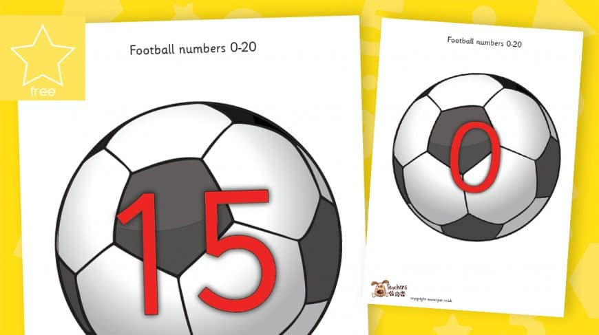 football numbers counting to 20