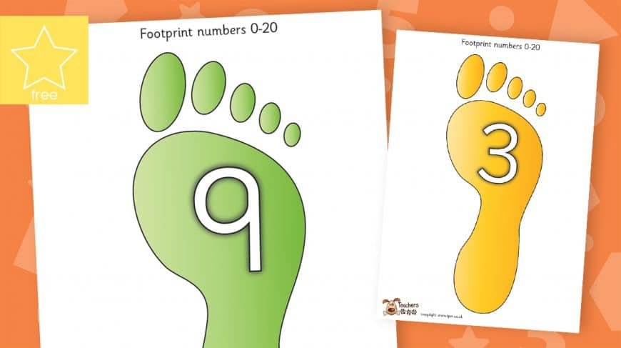 footprints numbers counting to 20