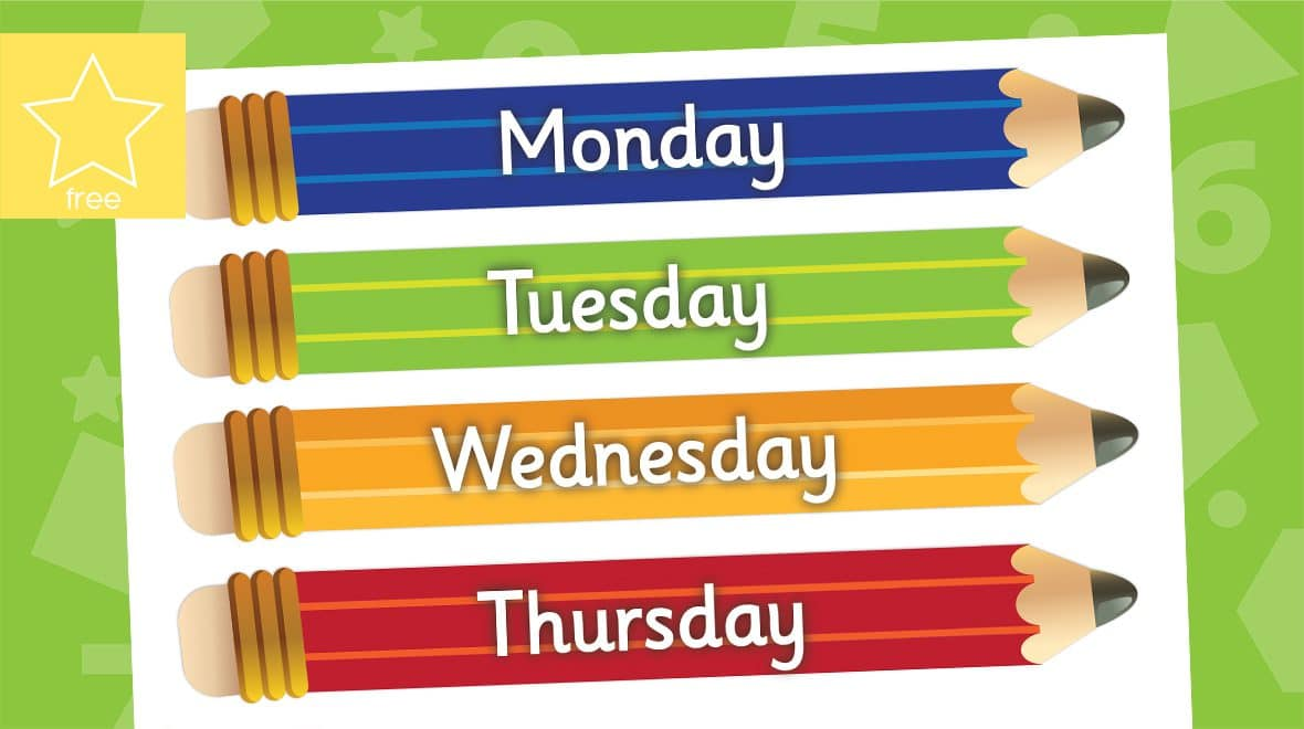 large days of the week pencils