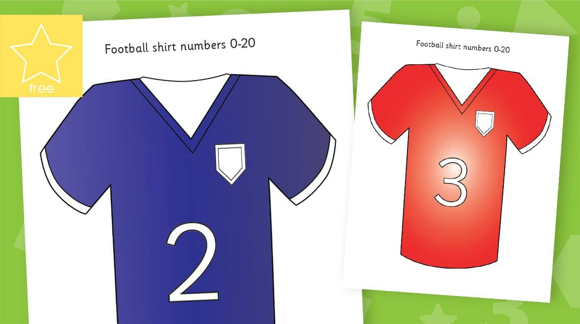 odd and even football shirts numbers counting to 20