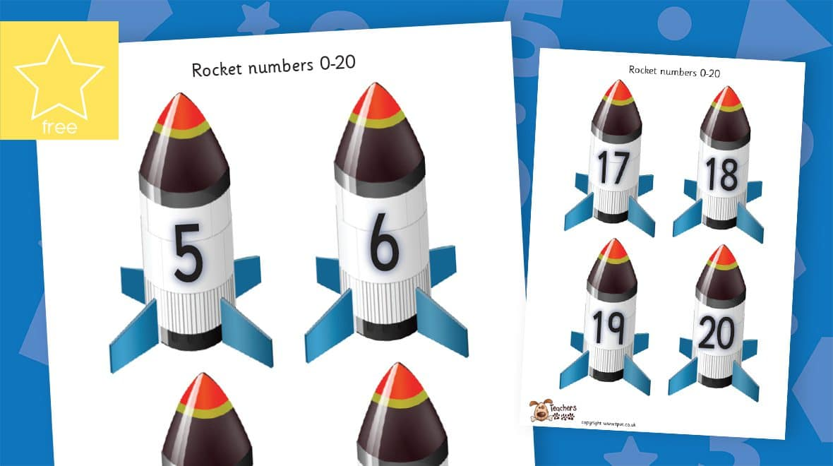 small rocket numbers counting to 20