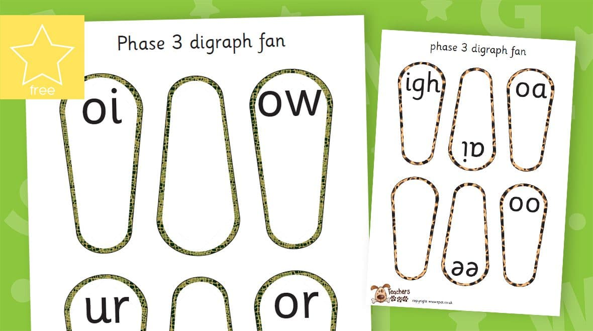 phonic digraphs letters and sounds animal skin fans