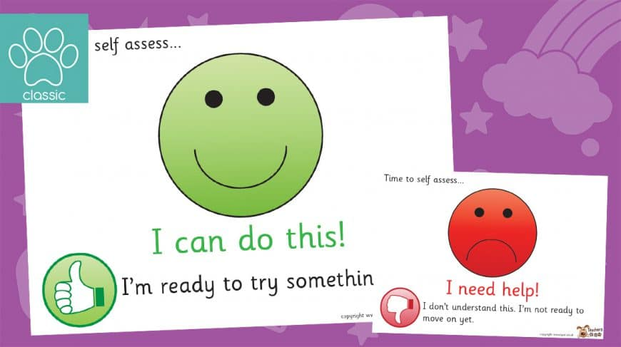 smiley face self assessment posters