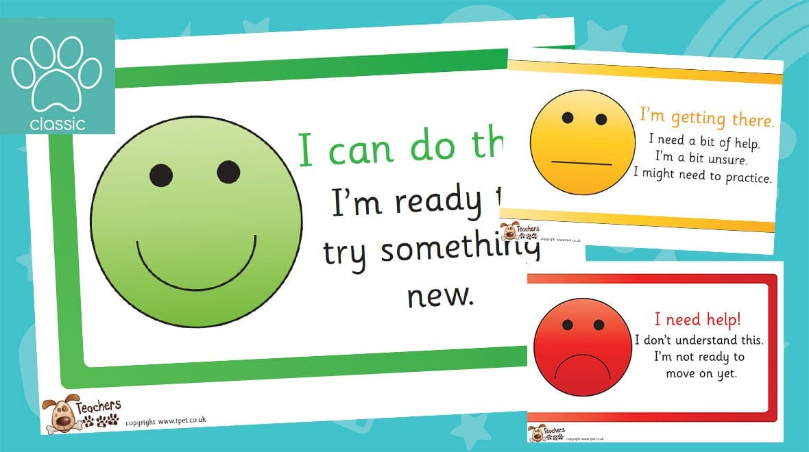 smiley face self assessment classroom display banner
