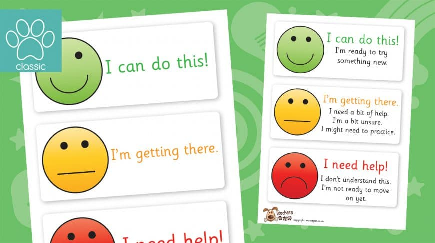 smiley face self assessment labels
