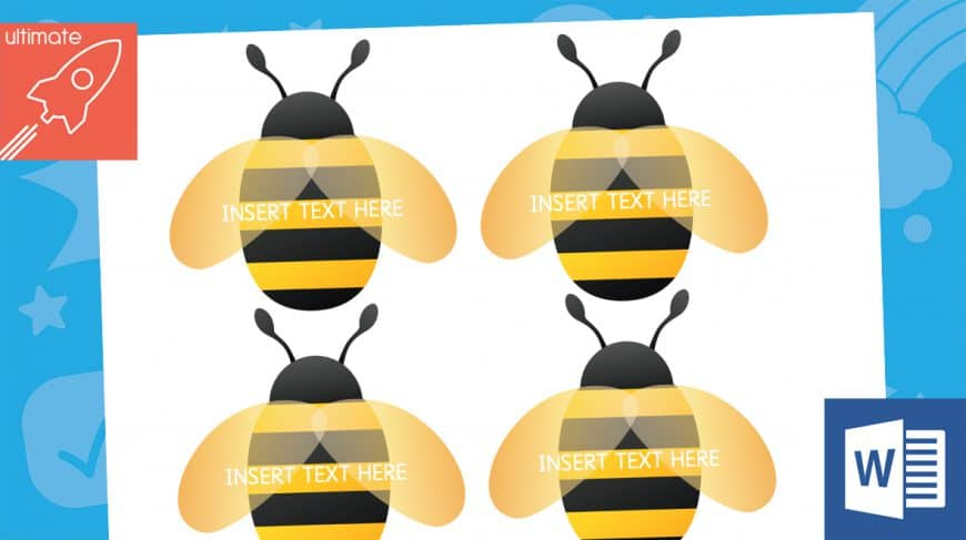 editable bee labels