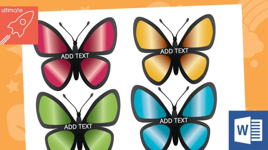 editable butterfly labels