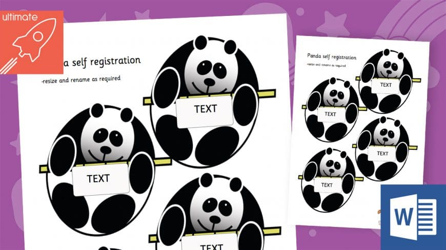 editable panda labels