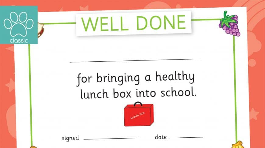 healthy lunchbox certificate