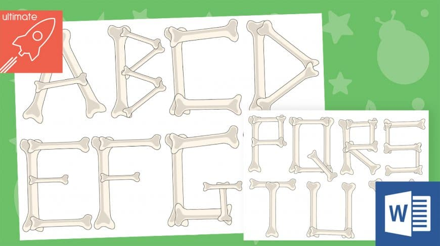 editable skeleton bone classroom display lettering