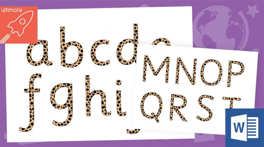 editable animal print display lettering