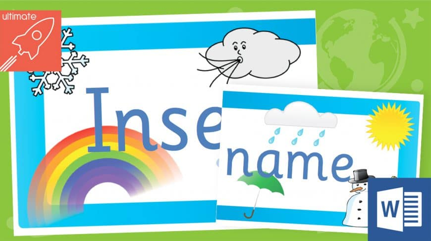 editable classroom display weather banner