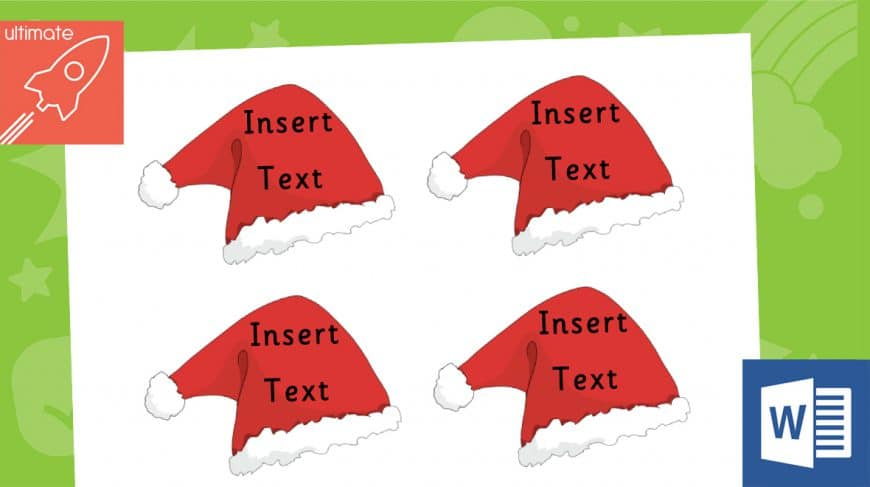Editable Christmas hat labels