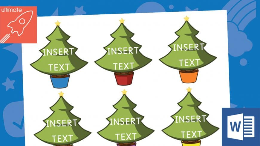 editable Christmas tree labels