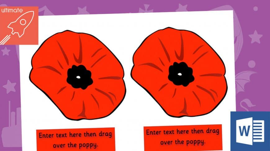 editable remembrance day poppies