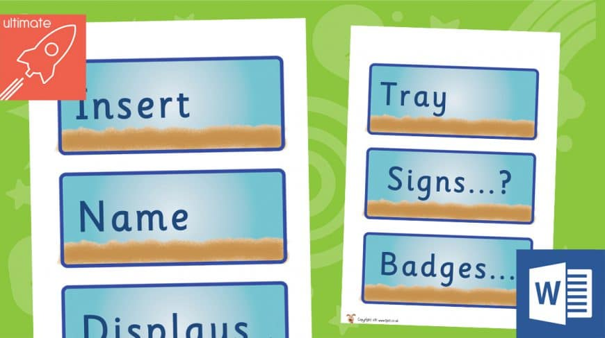 editable classroom labels beach theme