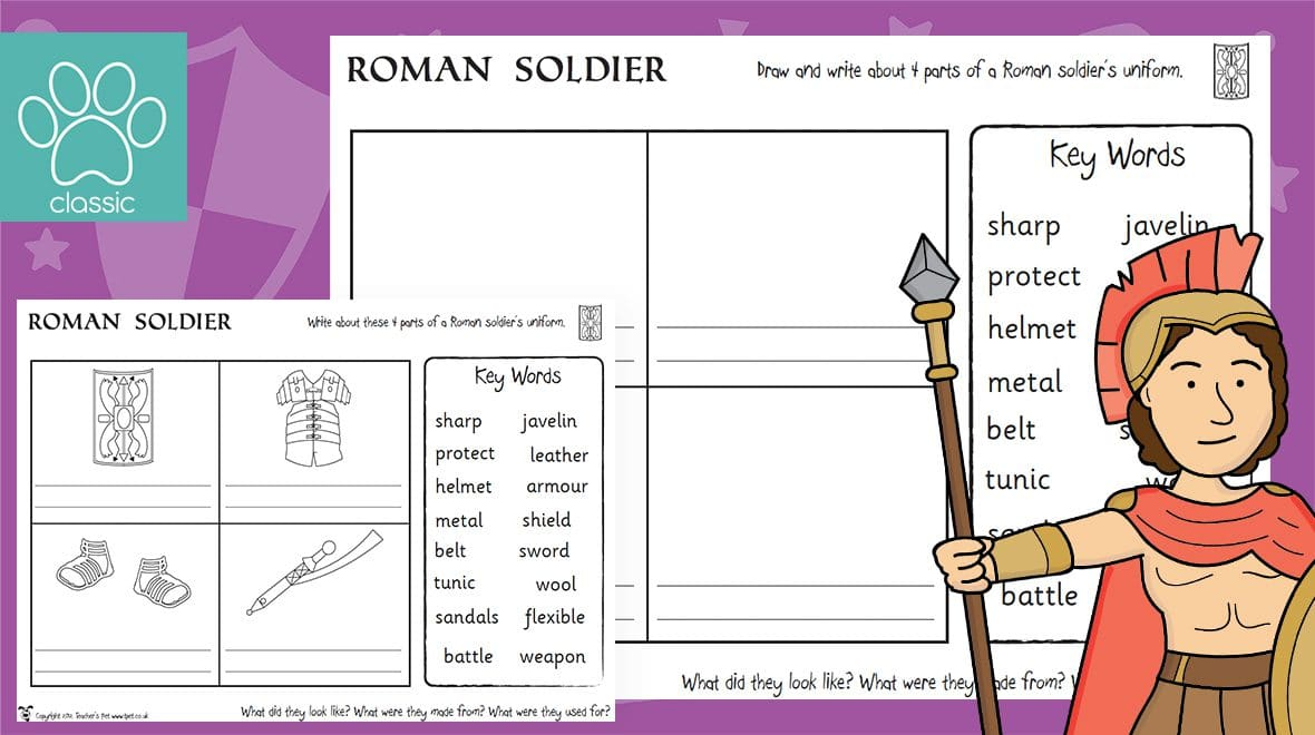 It's just a graphic of Crafty Roman Soldier Uniform Labelled