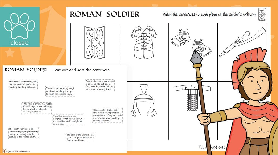 This is a graphic of Accomplished Roman Soldier Uniform Labelled