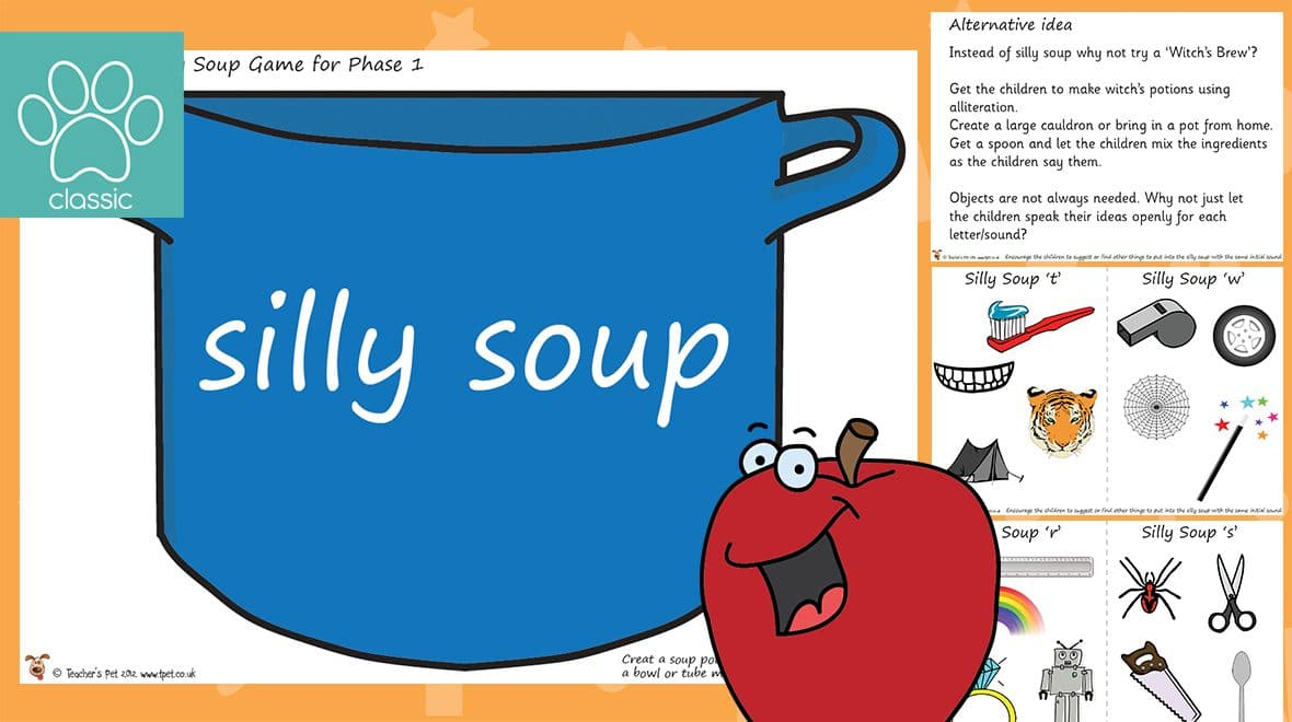 Teacher's Pet » Phase 1 Phonics Silly Soup Game