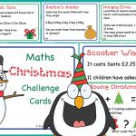 Editable KS2 Christmas Maths Challenge Cards