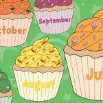 Large Months of the Year Birthday Cupcakes