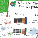 Ukulele Lesson 1 – Easy One Finger Chords For Beginners – Play-Along Poster