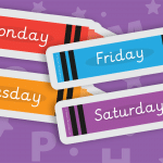 Large Display Crayons with Days of the Week