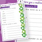 Year 1 Numbers To 20 Maths Whizz Activity