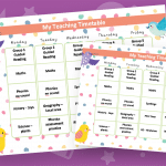 Editable Timetable Birds Theme
