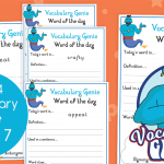 Vocabulary Genie Word Of The Day Year 4 Week 7
