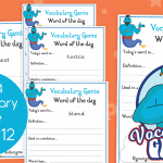 Vocabulary Genie Word Of The Day Year 4 Week 12
