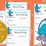 Vocabulary Genie Word Of The Day Year 6 Week 7