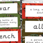 Remembrance Day Key Vocabulary and Definition Labels