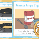 Shrove Tuesday Pancake Recipe Sequencing Cards