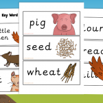 The Little Red Hen Story Key Word Labels